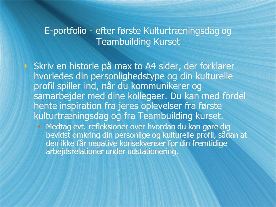 E-portfolio - efter første Kulturtræningsdag og Teambuilding Kurset