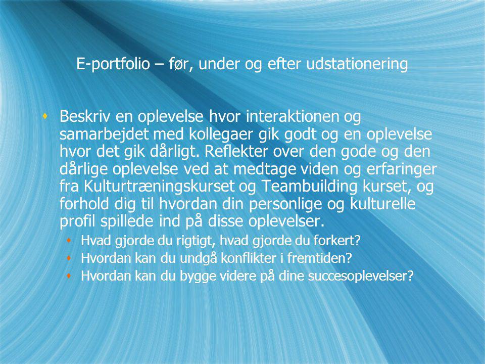 E-portfolio – før, under og efter udstationering