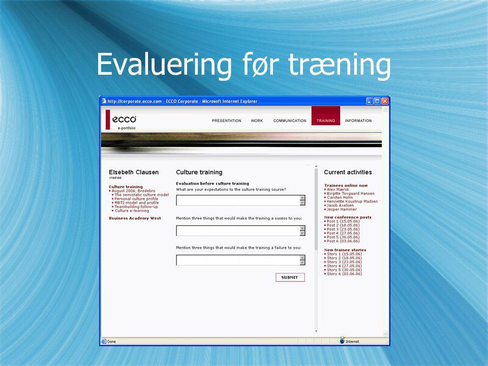 Evaluering før træning