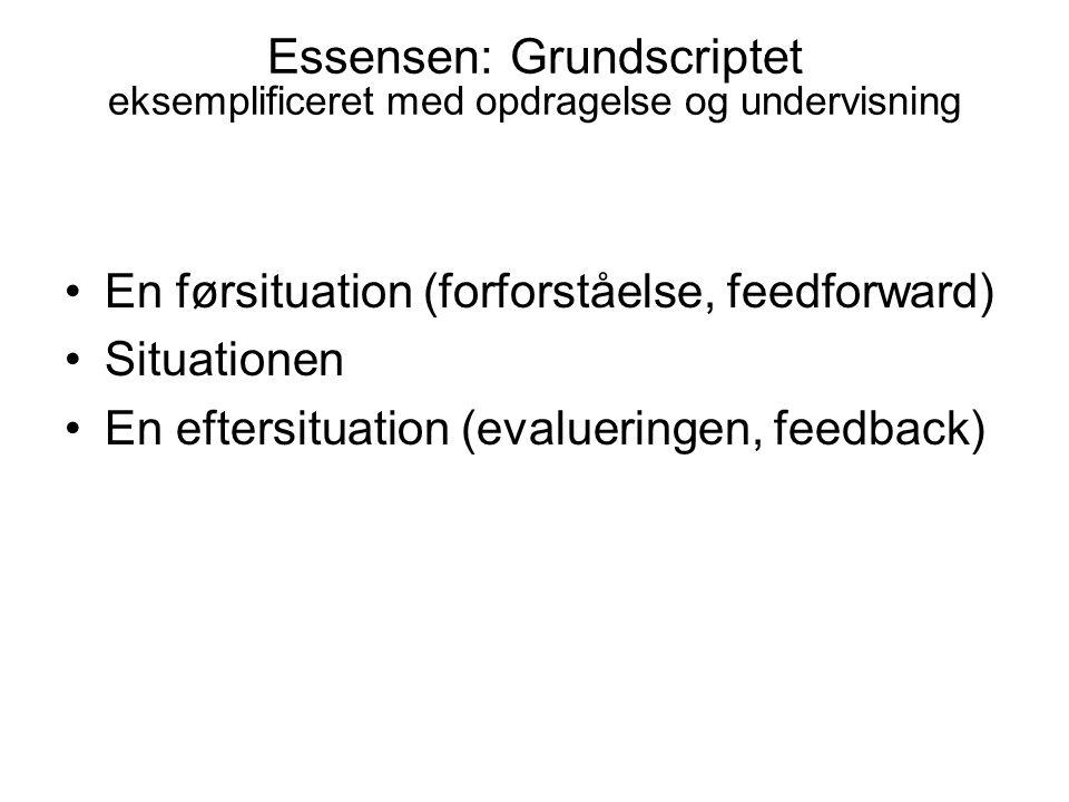 Essensen: Grundscriptet eksemplificeret med opdragelse og undervisning