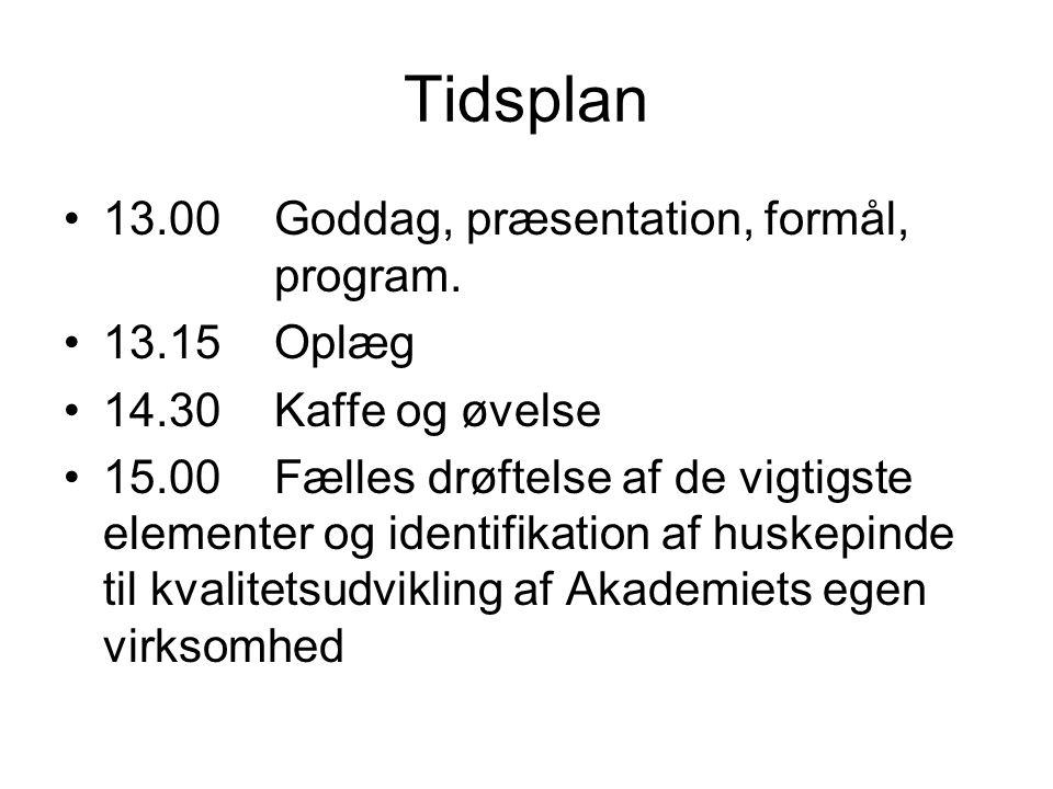 Tidsplan 13.00 Goddag, præsentation, formål, program. 13.15 Oplæg