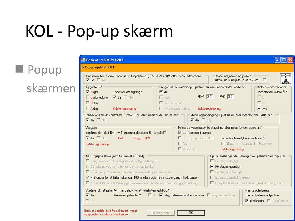 KOL - Pop-up skærm Popup skærmen