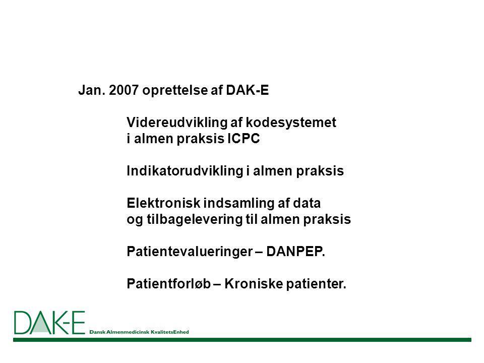 Jan. 2007 oprettelse af DAK-E Videreudvikling af kodesystemet
