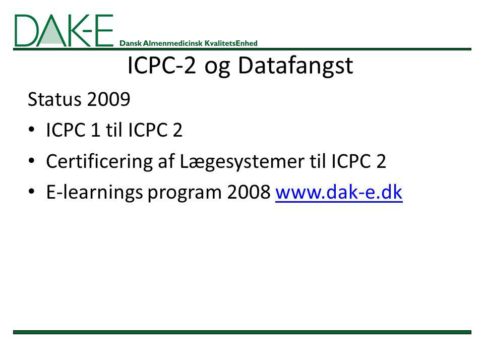 ICPC-2 og Datafangst Status 2009 ICPC 1 til ICPC 2