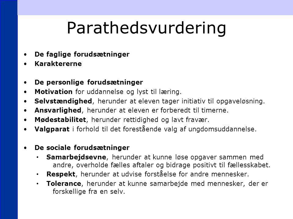 Parathedsvurdering De faglige forudsætninger Karaktererne