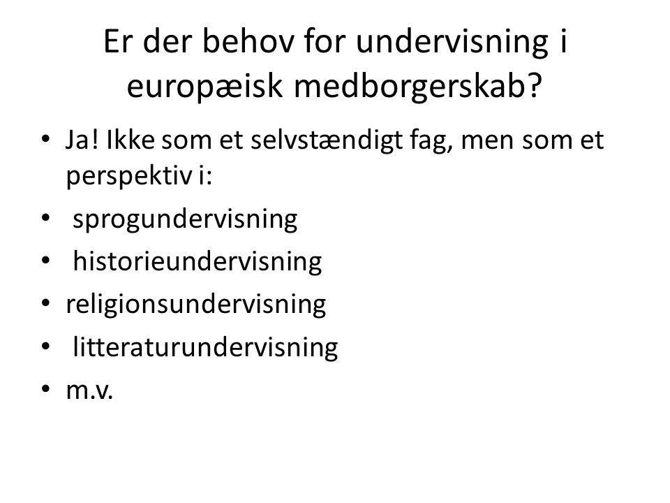 Er der behov for undervisning i europæisk medborgerskab