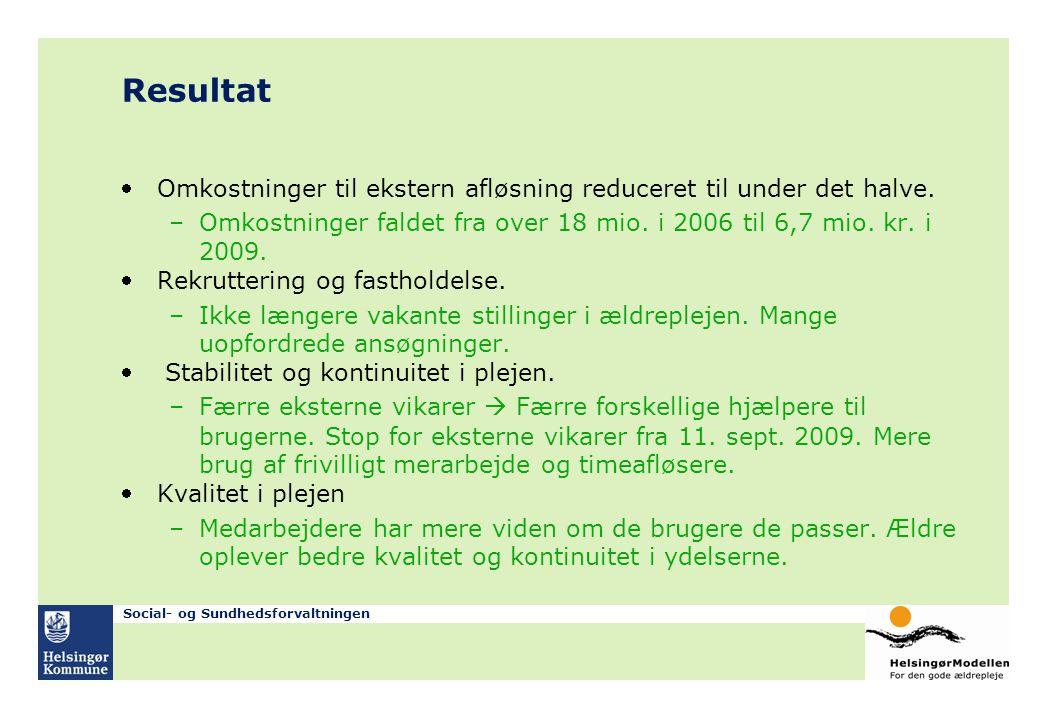 Resultat Omkostninger til ekstern afløsning reduceret til under det halve. Omkostninger faldet fra over 18 mio. i 2006 til 6,7 mio. kr. i 2009.