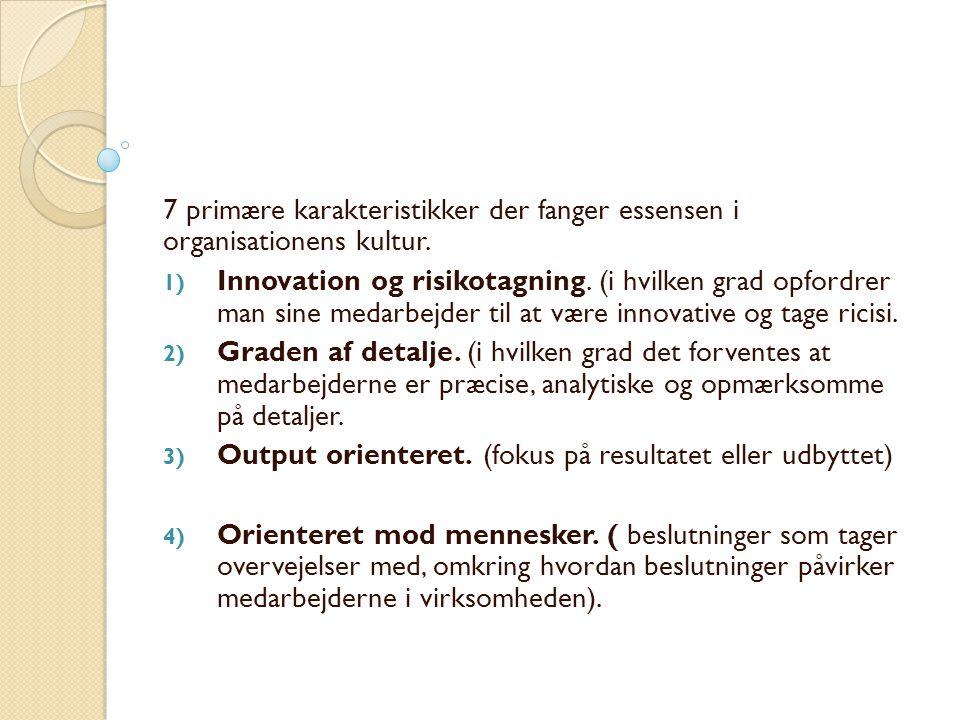 7 primære karakteristikker der fanger essensen i organisationens kultur.