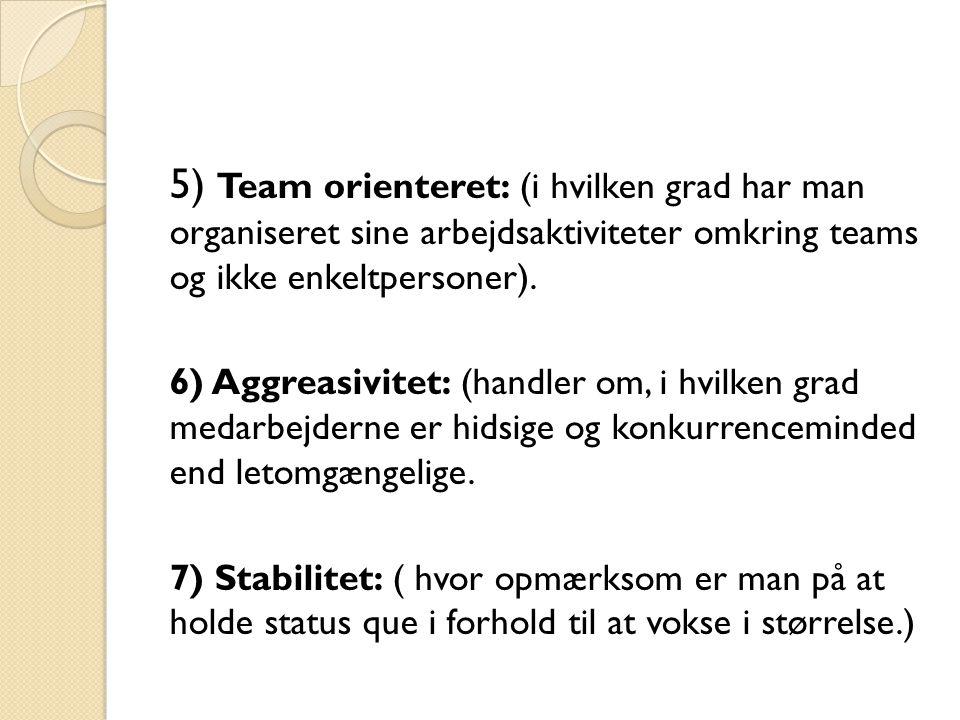 5) Team orienteret: (i hvilken grad har man organiseret sine arbejdsaktiviteter omkring teams og ikke enkeltpersoner).