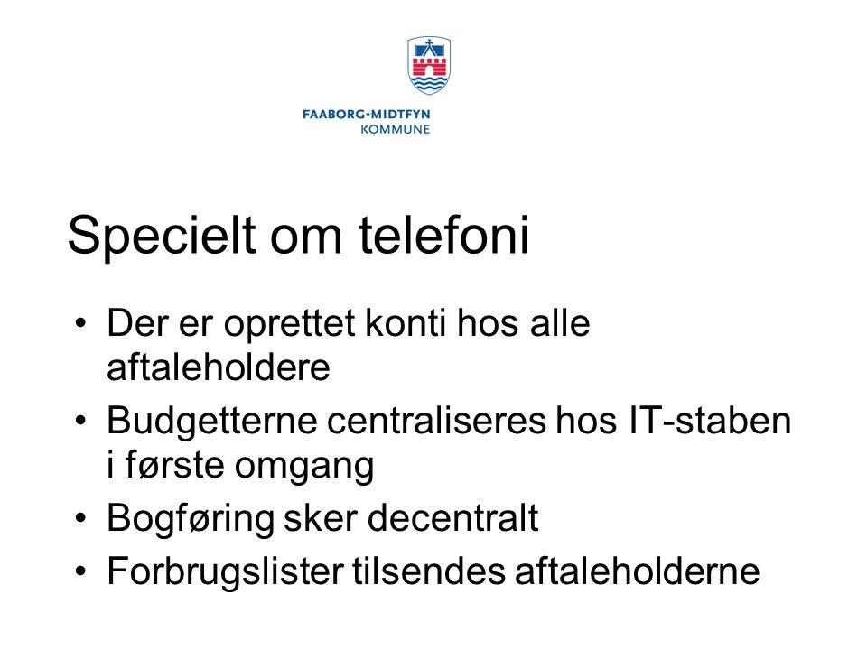 Specielt om telefoni Der er oprettet konti hos alle aftaleholdere