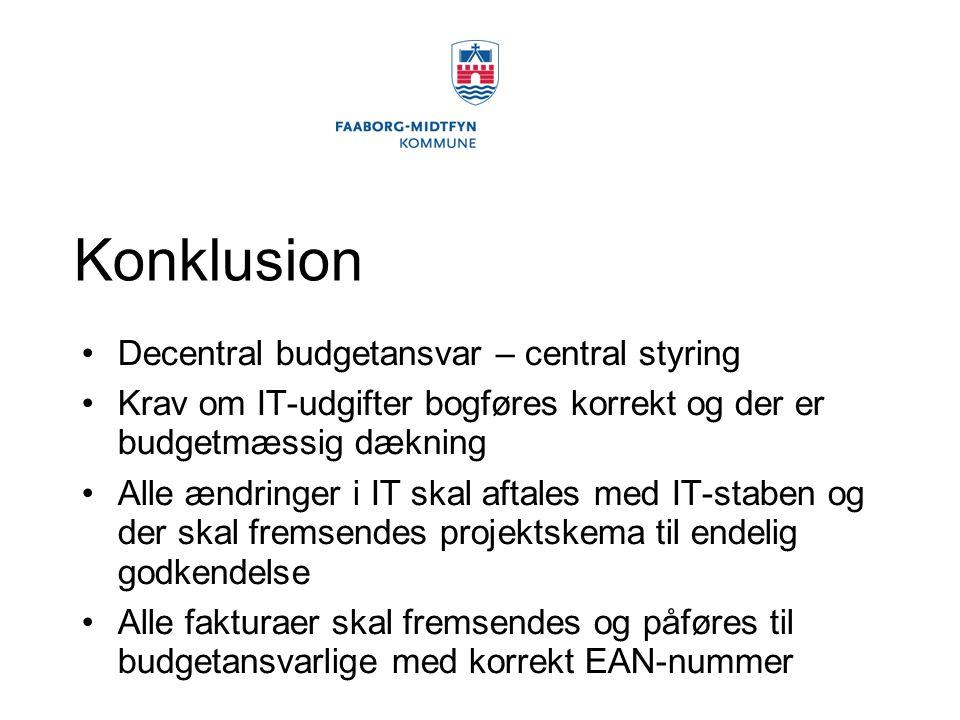 Konklusion Decentral budgetansvar – central styring