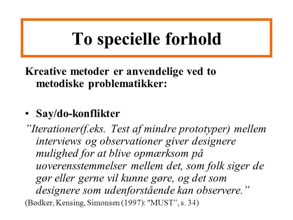 To specielle forhold Kreative metoder er anvendelige ved to metodiske problematikker: Say/do-konflikter.