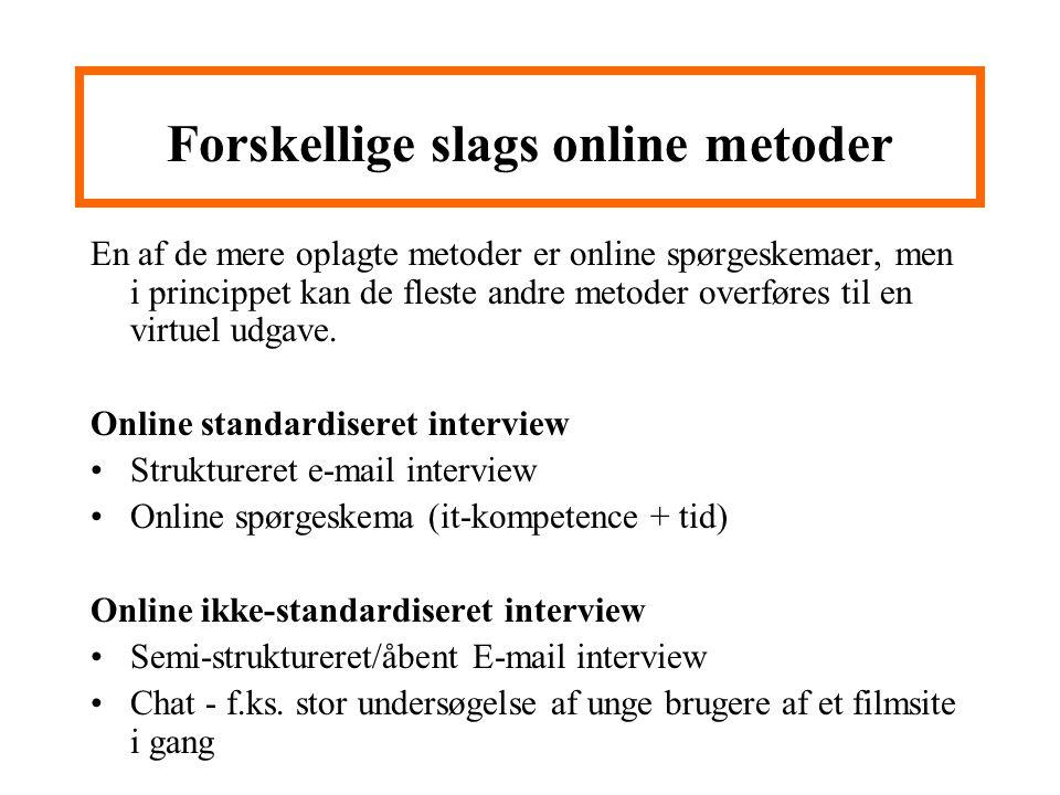 Forskellige slags online metoder