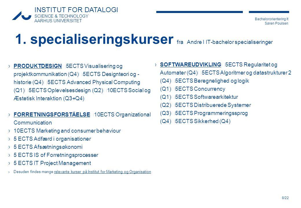 1. specialiseringskurser fra Andre I IT-bachelor specialiseringer