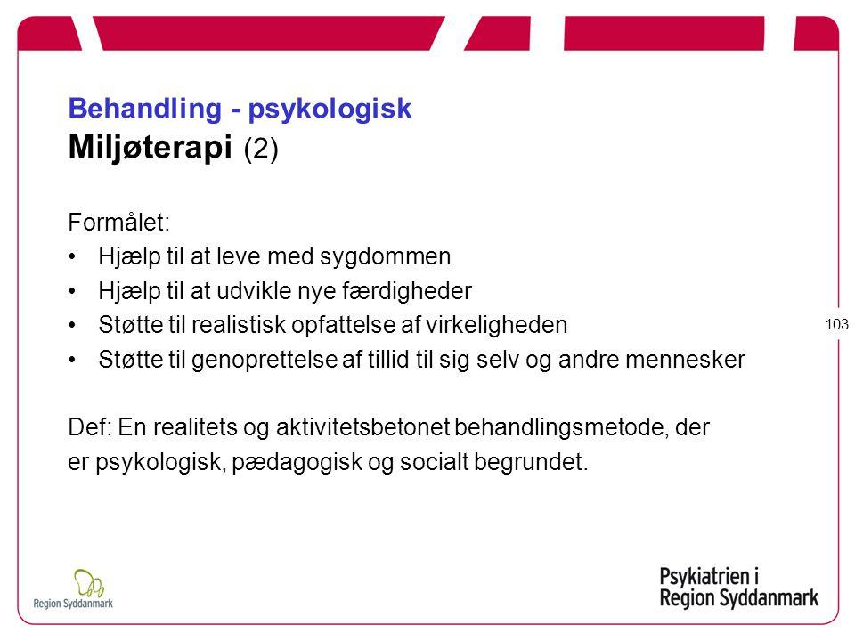 Behandling - psykologisk Miljøterapi (2)