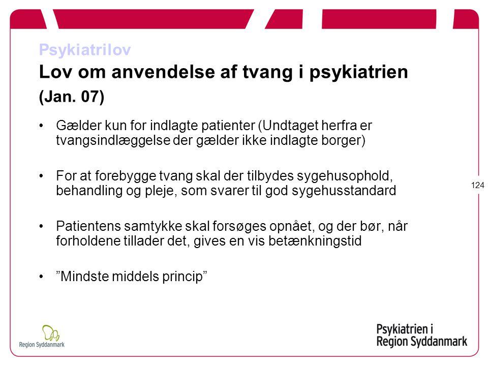 Psykiatrilov Lov om anvendelse af tvang i psykiatrien (Jan. 07)