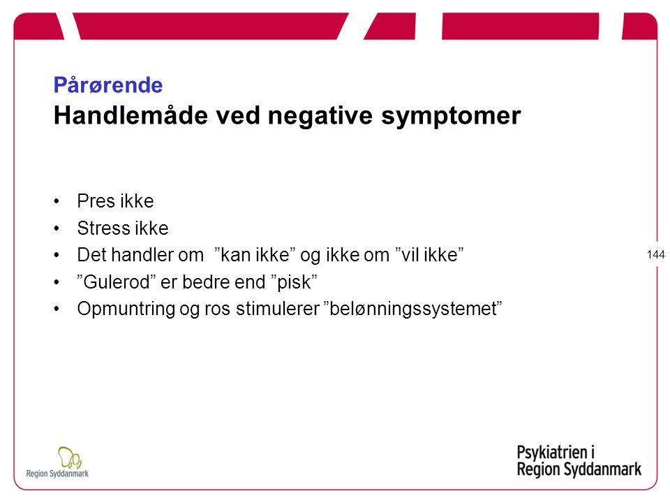 Pårørende Handlemåde ved negative symptomer