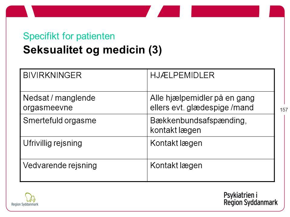 Specifikt for patienten Seksualitet og medicin (3)