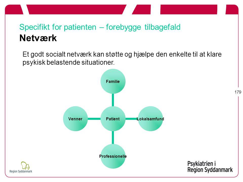 Specifikt for patienten – forebygge tilbagefald Netværk