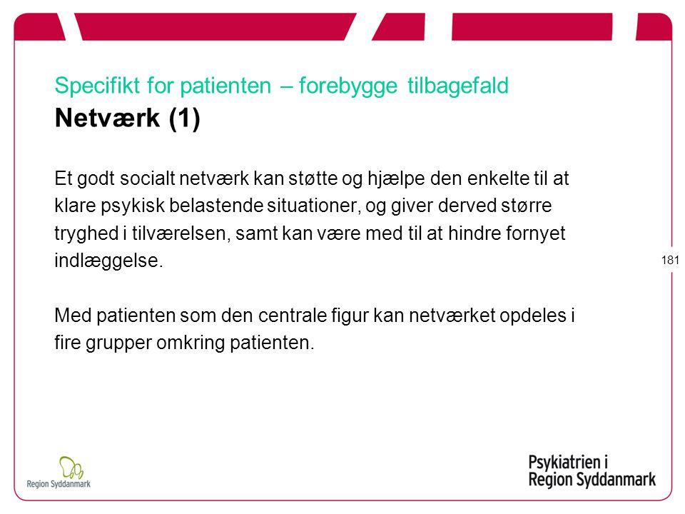 Specifikt for patienten – forebygge tilbagefald Netværk (1)