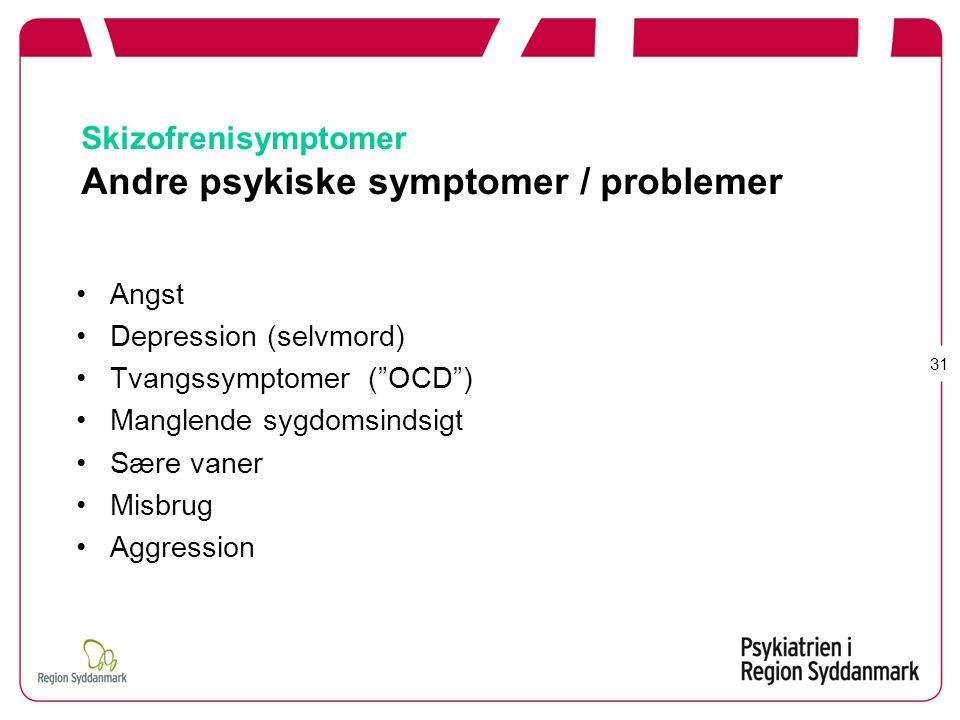 Skizofrenisymptomer Andre psykiske symptomer / problemer