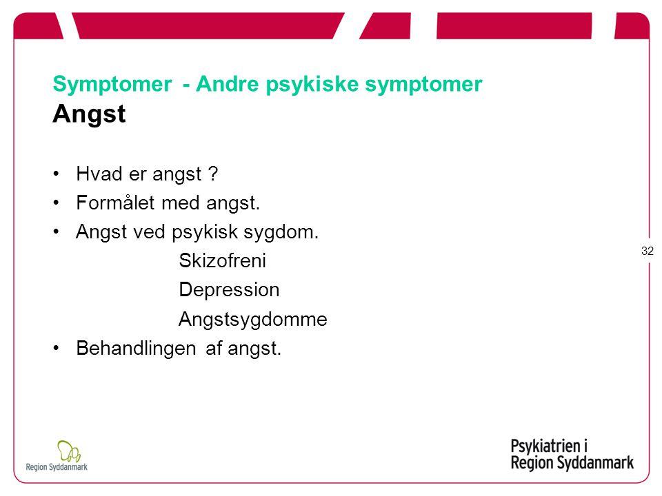 Symptomer - Andre psykiske symptomer Angst