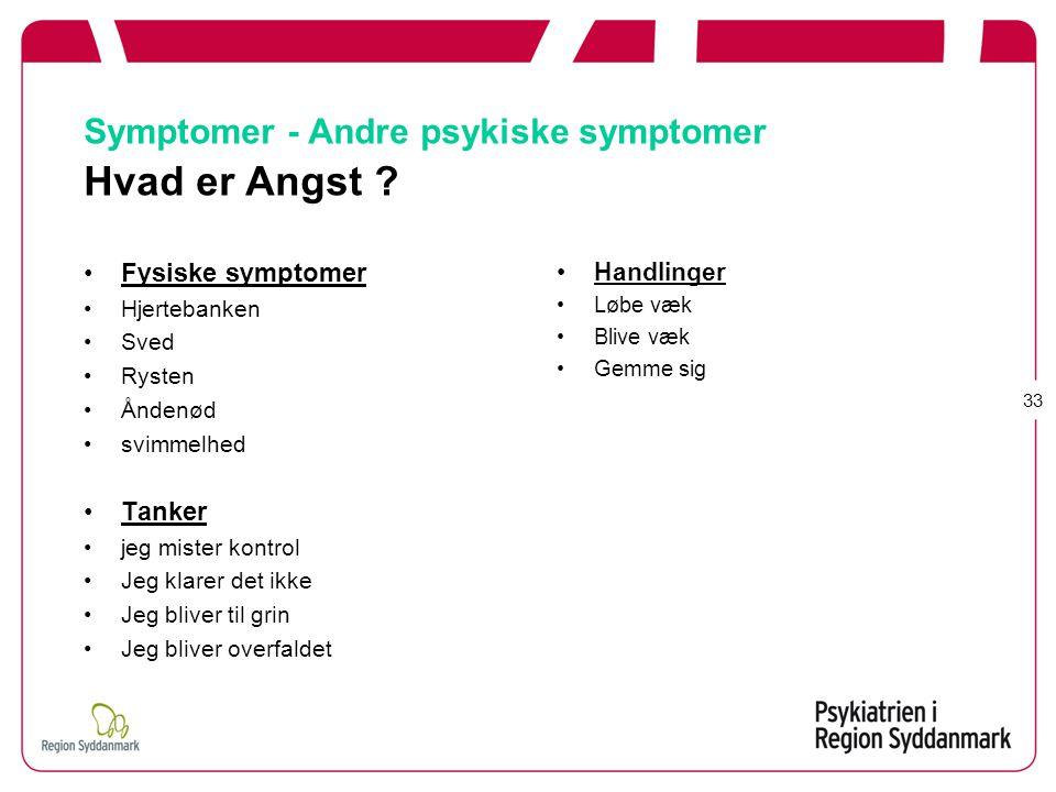 Symptomer - Andre psykiske symptomer Hvad er Angst