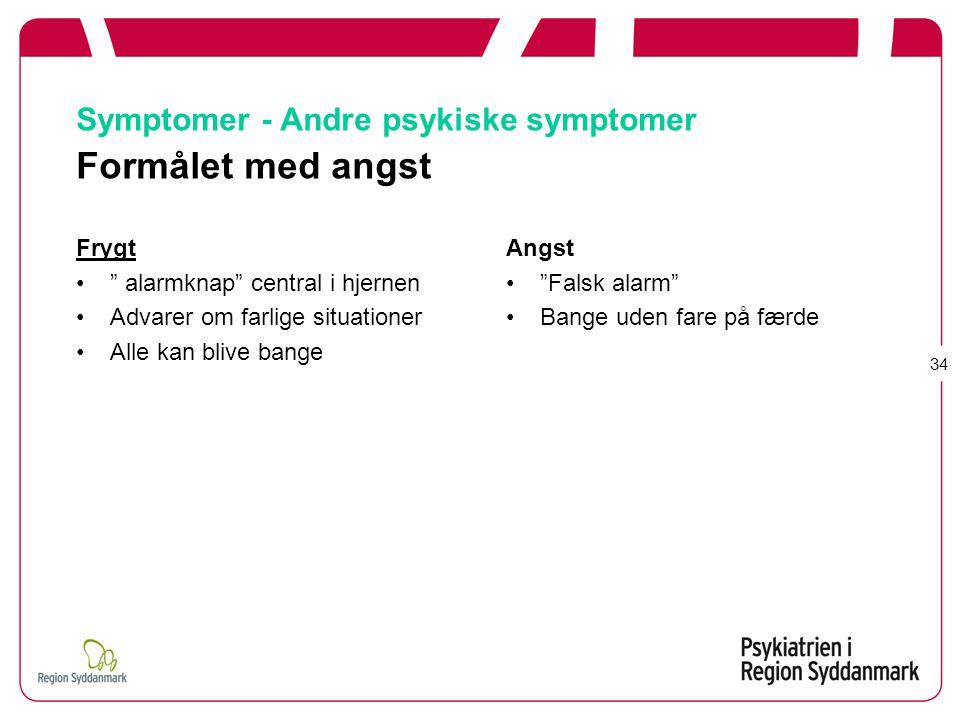 Symptomer - Andre psykiske symptomer Formålet med angst