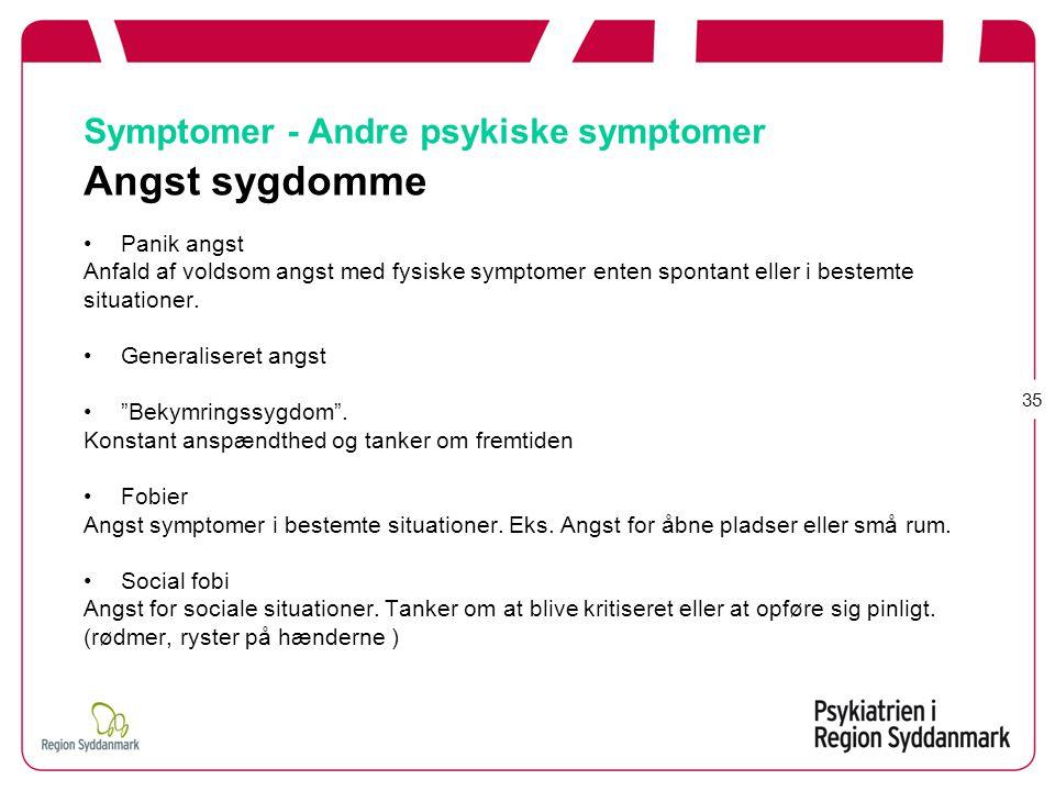 Symptomer - Andre psykiske symptomer Angst sygdomme