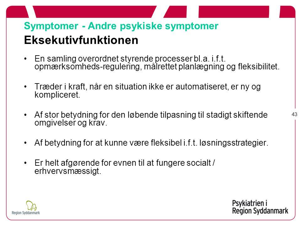 Symptomer - Andre psykiske symptomer Eksekutivfunktionen