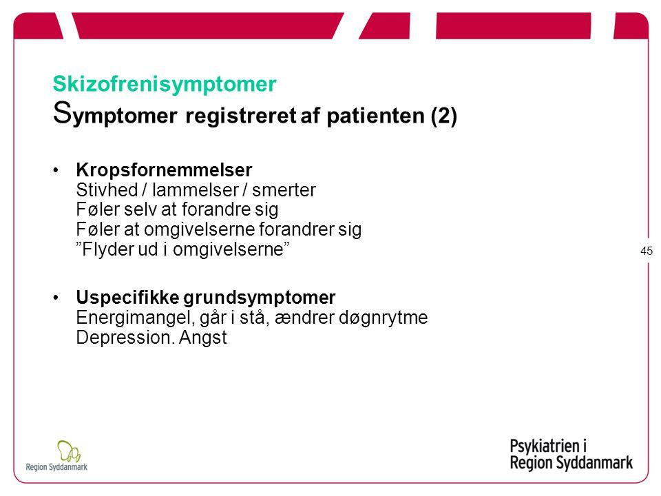 Skizofrenisymptomer Symptomer registreret af patienten (2)