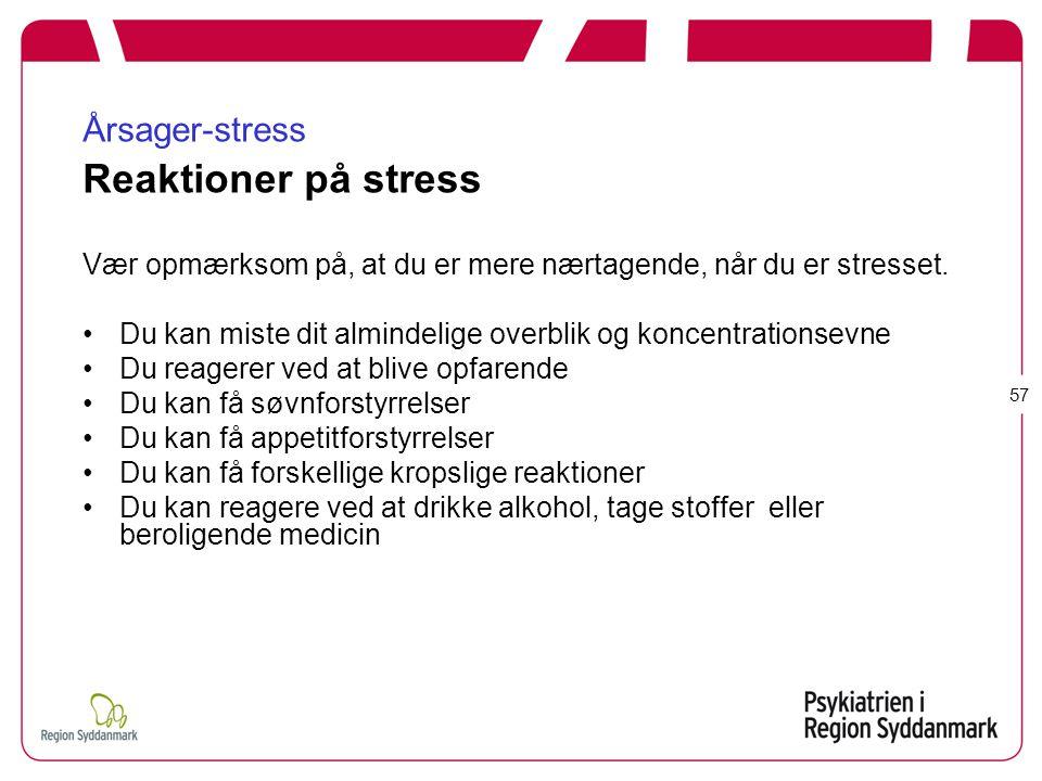 Årsager-stress Reaktioner på stress