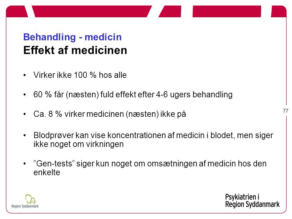 Behandling - medicin Effekt af medicinen