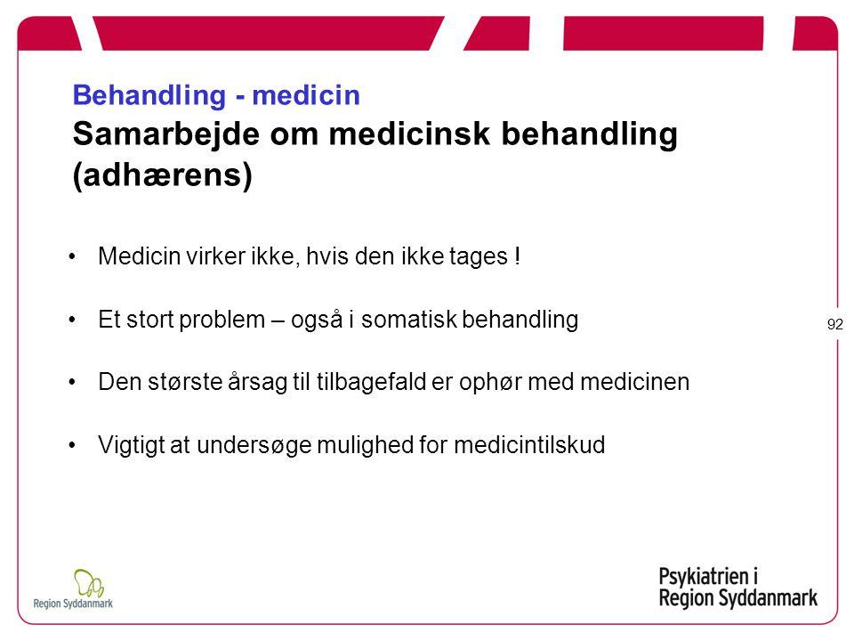 Behandling - medicin Samarbejde om medicinsk behandling (adhærens)