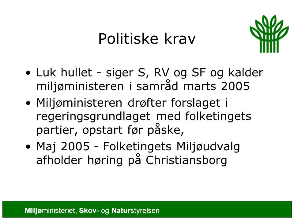 Politiske krav Luk hullet - siger S, RV og SF og kalder miljøministeren i samråd marts 2005.