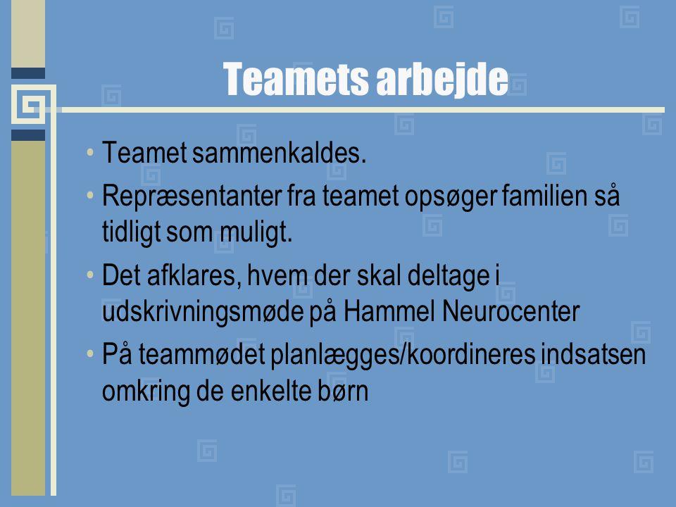 Teamets arbejde Teamet sammenkaldes.
