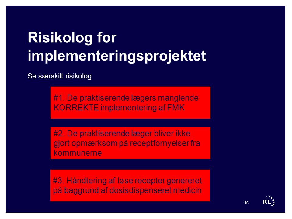 Risikolog for implementeringsprojektet