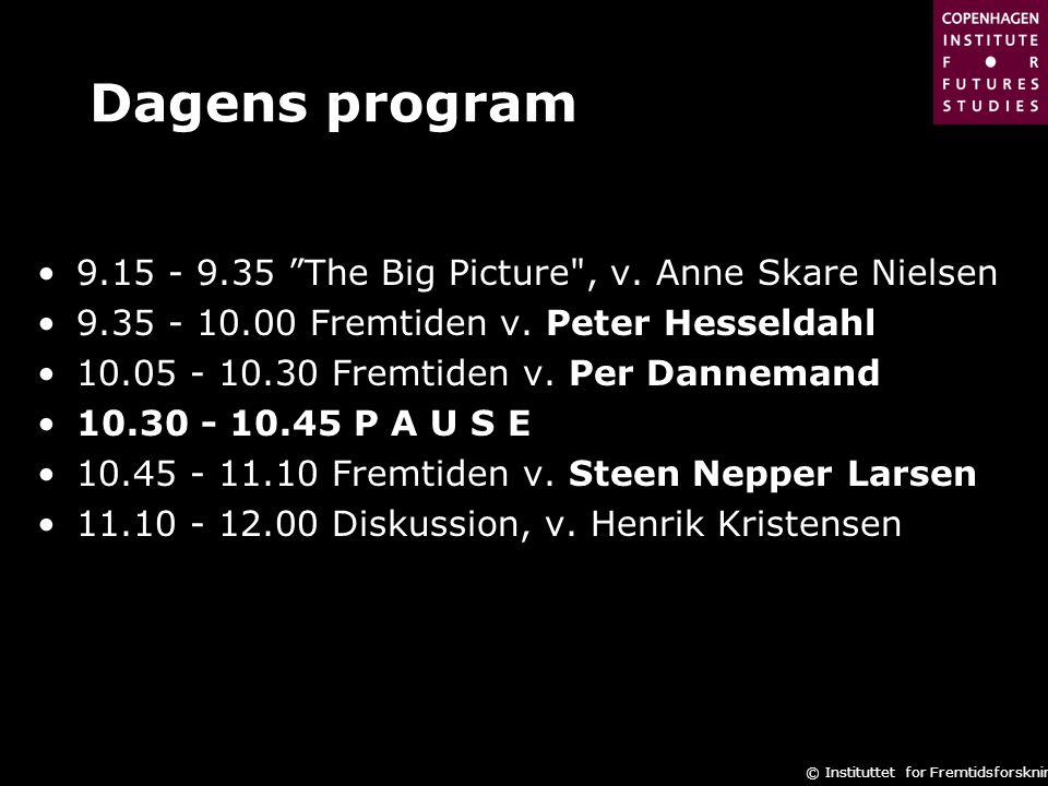 Dagens program 9.15 - 9.35 The Big Picture , v. Anne Skare Nielsen