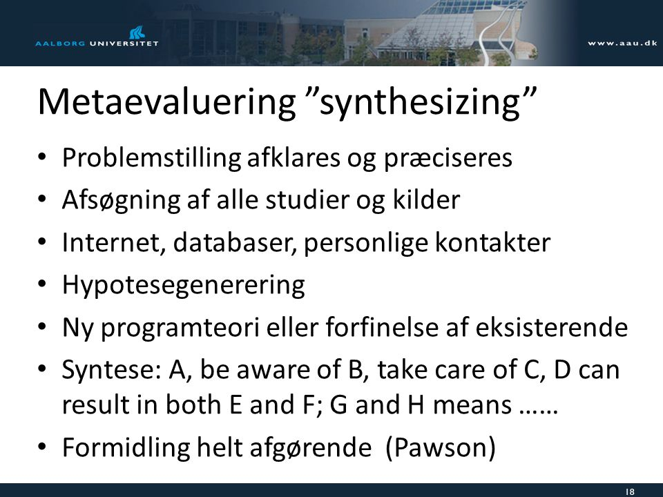 Metaevaluering synthesizing