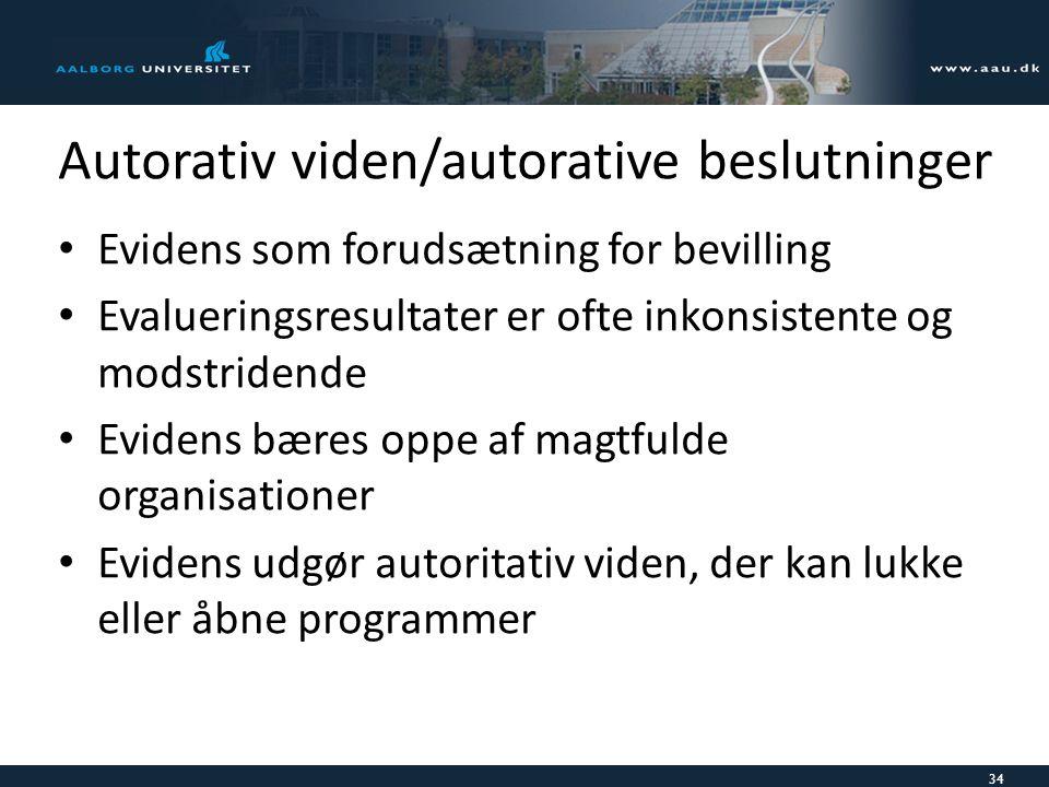 Autorativ viden/autorative beslutninger