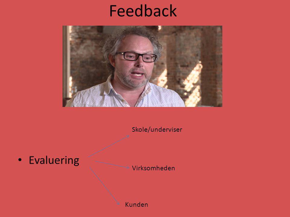 Feedback Evaluering Skole/underviser Virksomheden Kunden
