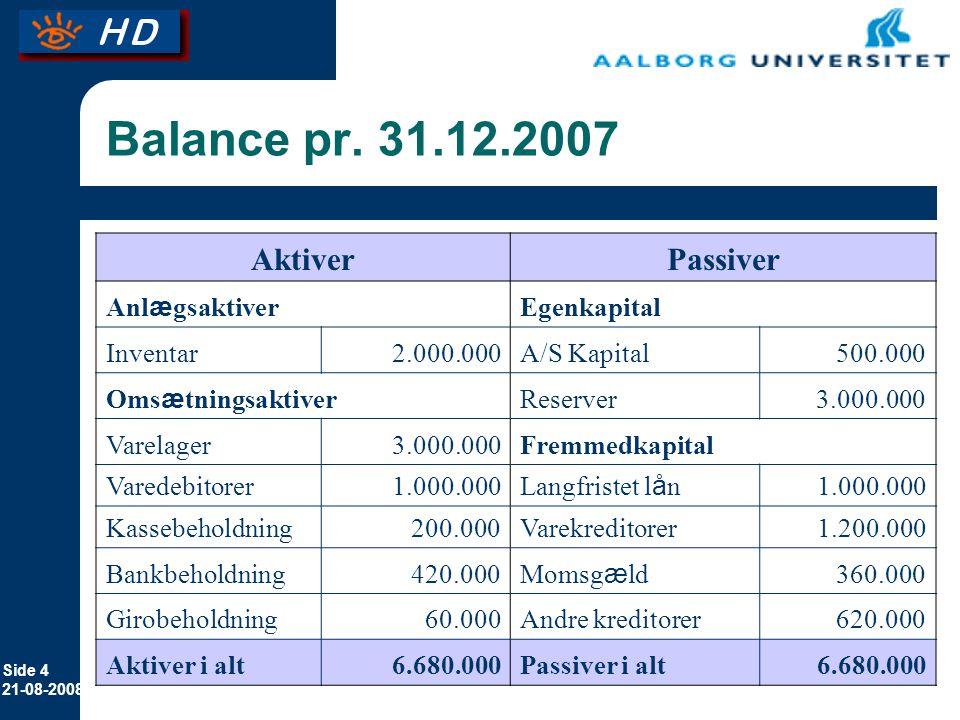 Balance pr. 31.12.2007 Aktiver Passiver Anlægsaktiver Egenkapital