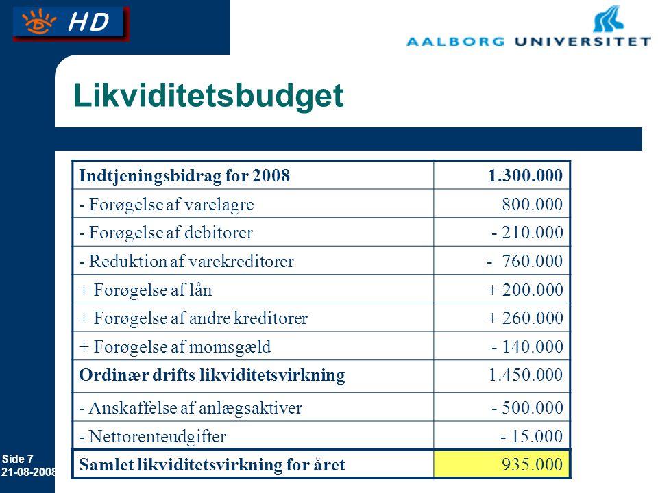 Likviditetsbudget Indtjeningsbidrag for 2008 1.300.000