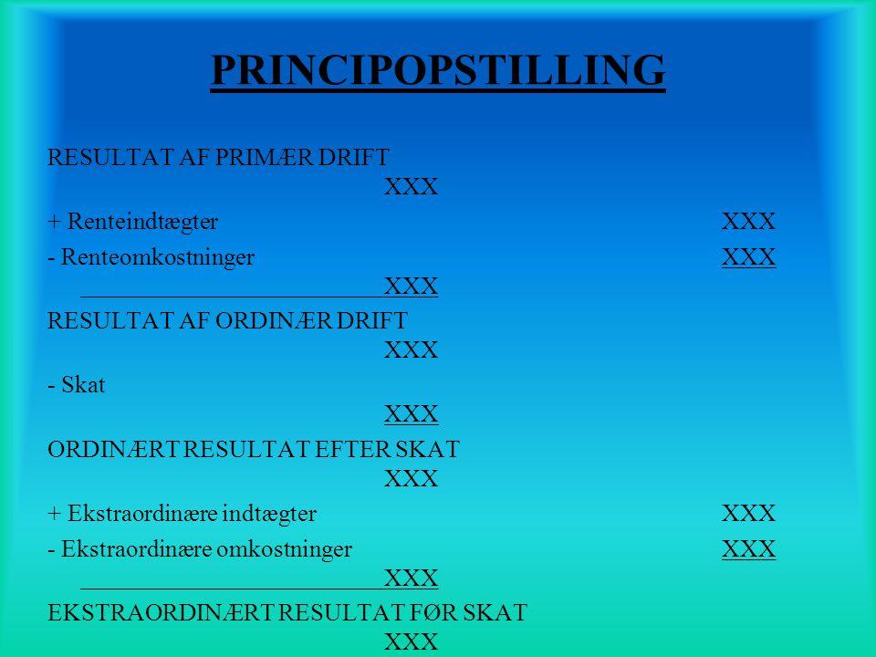 PRINCIPOPSTILLING RESULTAT AF PRIMÆR DRIFT XXX + Renteindtægter XXX