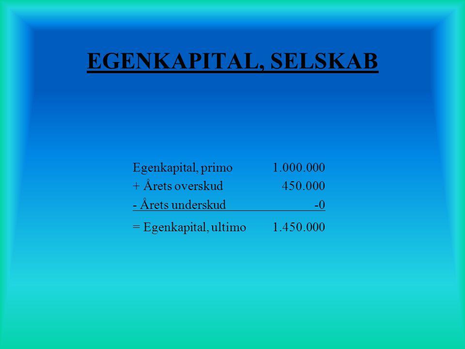 EGENKAPITAL, SELSKAB Egenkapital, primo 1.000.000