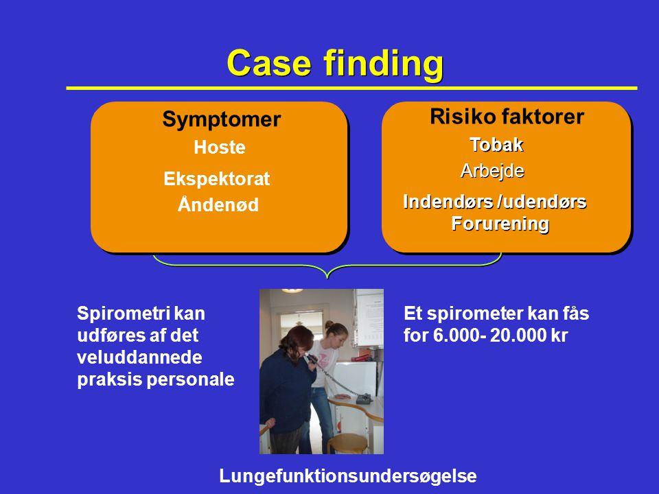 Case finding Symptomer Risiko faktorer Hoste Tobak Arbejde Ekspektorat