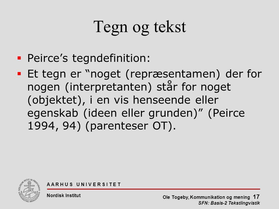 Tegn og tekst Peirce's tegndefinition: