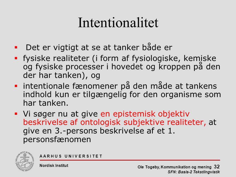Intentionalitet Det er vigtigt at se at tanker både er