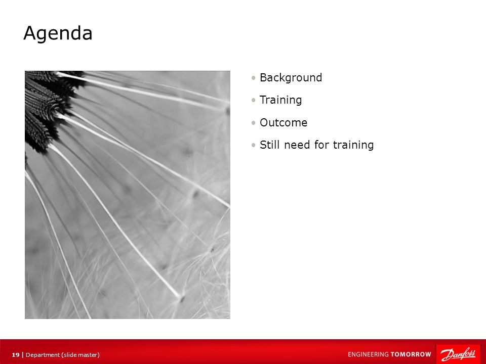 Agenda Background Training Outcome Still need for training