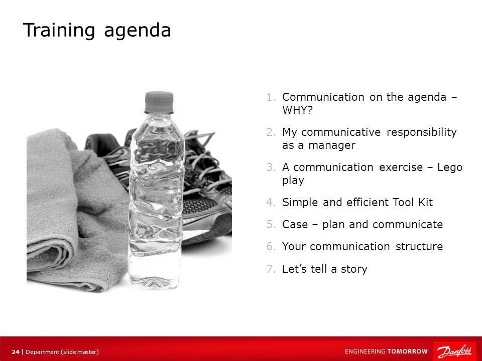 Training agenda Communication on the agenda – WHY